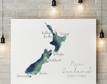 New Zealand Map DIGITAL FILE | nz Wall Art | South Pacific Print | New Zealand Art | NZ Art Print | Kiwi Map | nz Map | Aotearoa Map