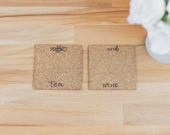 Tea And Coffee Coasters // Cork Coasters // Set of 4 // Wine and Gin Coasters // Drinks Coasters // House Warming Gift