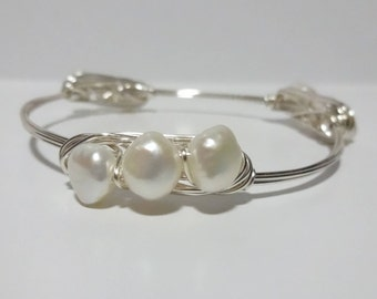 Peony Bangle, Wire Wrapped Stackable Bracelet, Wire Wrapped Stackable Bracelet, Wire Wrap Bangle, Wire Bangle, Wire Wrapped Bracelet
