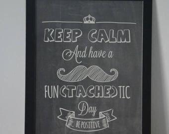 Mustache chalkboard effect poster