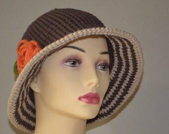 Handmade crochet brown hat