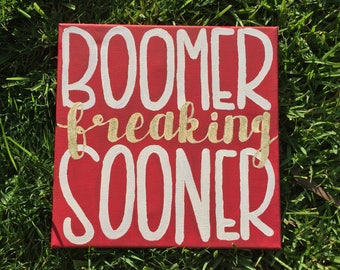 Hand Painted University of Oklahoma College Canvas