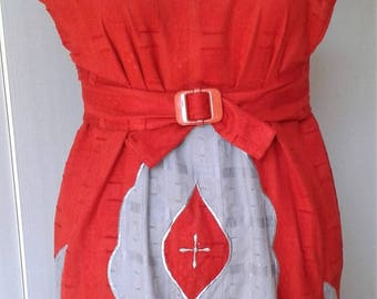 Costume, medieval dress for summer in bright red cotton size 38/40