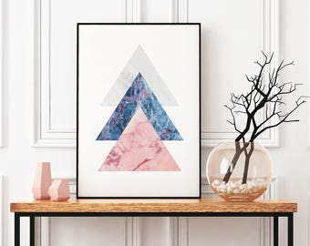 Scandinavian Wall Art, Modern Collage Artwork, Marble Design, Urban Abstract Art Print, Blue Marble Poster, Framed Print