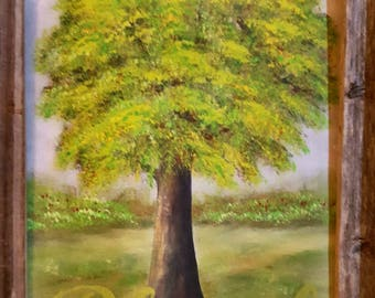 """Tree painting with """"Blessed"""" quote"""