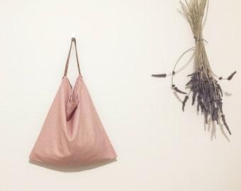 Linen/cotton bag (40cm x 40cm), leather handle bag, tote bag, cotton bag, shopping bag, grocery bag, beach bag, shoulder bag