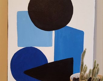 Original Abstract Painting A3, Contemporary Art, HandPainted, Blue tone Acrylic Painting,