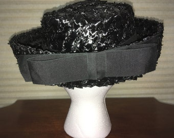 1950s Black Straw Hat