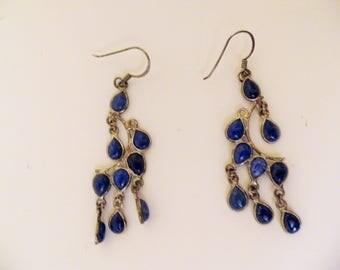 Silver dangle earrings lapis lazuli