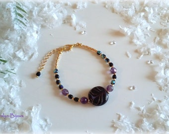 Glass Bead Bracelet Amethyst & striped natural