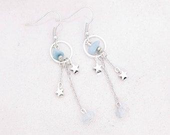 Stars - aquamarine - Silver earrings