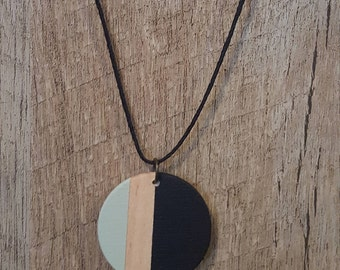 Painted wood pendant necklace, Black and green, Wood jewelry, Modern design