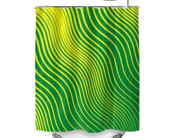 Green Waves Shower Curtain