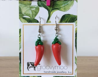 chilli polymer clay earrings