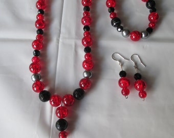 Brilliant Bold Red Necklace Set