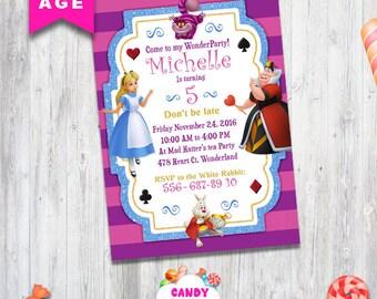 Alice in Wonderland invitation, Alice in Wonderland party, printable girls party invite, Alice in Wonderland birthday, Alice, CANDY-006
