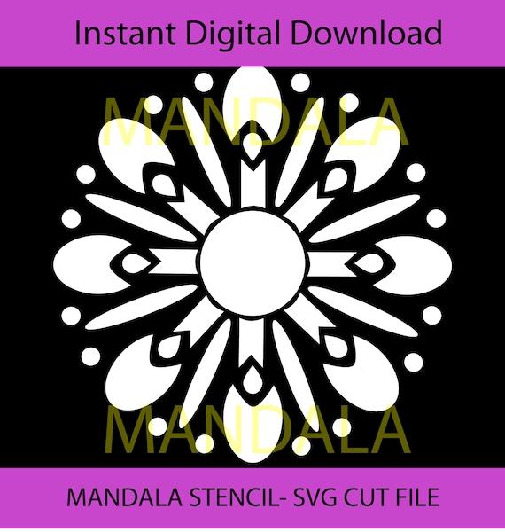 Instant Stencils Product : Stencil mandala svg cut file clipart digital flower