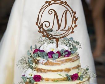 M Letter cake topper, Wedding Cake Topper, Unique Cake Topper, Monogram Cake Topper, Initials Cake Topper Single Letter, Personalised Topper