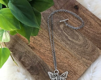 butterfly pendant necklace   womens