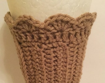 Hand Crochet  Boot Cuffs : Warm And Cosy Caramel Scalloped Top - Ladies One Size