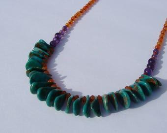 Turquoise Carnelian Beaded Necklace Handmade
