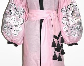 Ukrainian Embroidered Vyshyvanka Dress Pink Boho Dresses Abaya Dubai Kaftan Vishivanka Ukraine Embroidery Women Clothes Bohemian Clothing