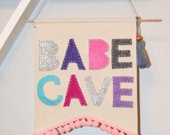 Babe cave banner.  boho banner. Wall banner