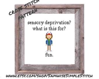 Stranger Things, Dustin sensory deprivation tv show funny cross stitch PATTERN