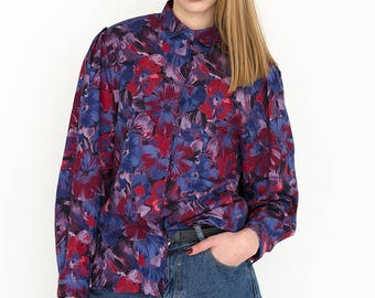 VINTAGE Colourful Floral Long Sleeve Retro Shirt