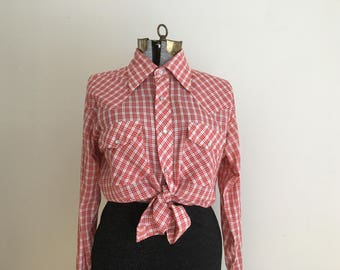 70's Men's WESTERN gingham long sleeve shirt ( M )