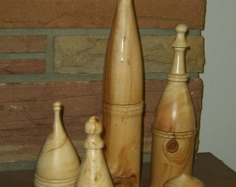 Grouping of 5 Tall Lathe Turned Aspen Boxes