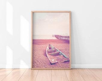 Pink Wall Art, Beach Wall Art Printable, Beach Wall Decor, Beach Printable Art, Pastel Printable Poster, Digital Art Print, Digital Download