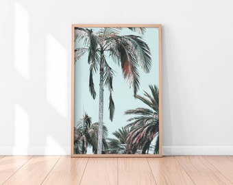 Palm Trees Printable, Tropical Wall Art, Palm Trees Art Print, California Print, Palm Tree Photography, Nature Art, Large Pastel Art Print