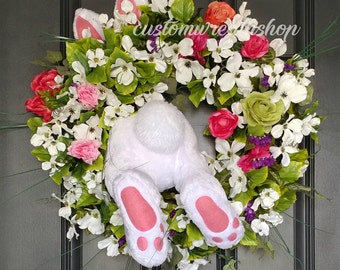 Easter Bunny Wreath, Easter Wreath, Easter Decorations, Easter Decor,Grapevine Wreath,Front Door Wreath, Easter Gift , Bunny Butt Wreath
