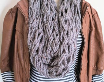 Gray Arm Knit Scarf | Black Speckled Infinity Scarf | Gray and Black Arm Knitted Scarf | Long Infinity Scarf | Gifts for Valentine's Day |