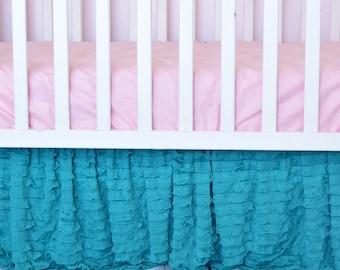 Mint Crib Skirt - Ruffle Crib Skirt - Teal Crib Skirt - Baby Bed Skirt- Long Crib Skirt - Ruffled Crib Skirt Baby Nursery Baby Room Decor