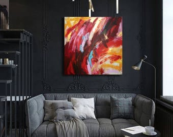 VERSUS painting/acrylic painting on canvas colored red yellow abstract handmade art made in Italy Square