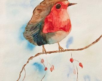 Robin, art print, watercolour, bird, print