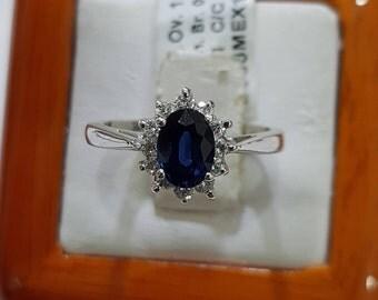 Sapphire engagement ring, 14k white gold