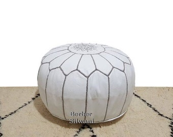 White/Gray Moroccan Leather Pouf, Moroccan Pouf Ottoman Footstool Poof Poufs