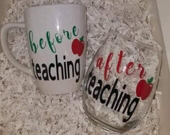 Before Teaching After Teaching Mug & Wine Glass