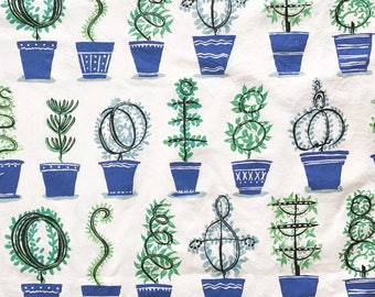 Vintage Fabric Plant Pots Design Botanical Topiary Plants Houseplants Home Decor Remnant Retro