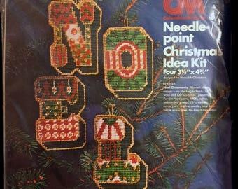 Vintage CHRISTMAS NEEDLEPOINT Kit ~ NOEL Holiday Ornaments Columbia Minerva Sealed