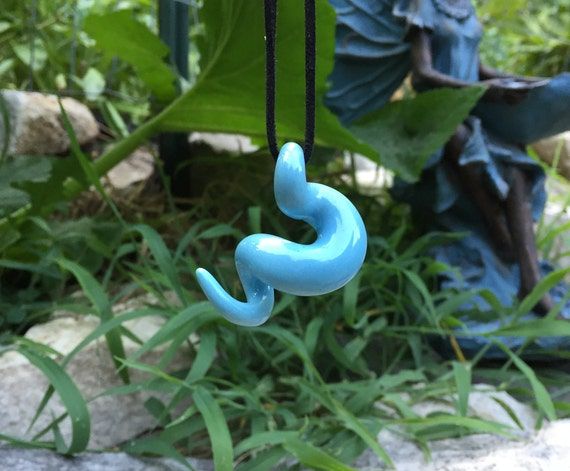 squiggly organic glossy baby blue porcelain pendant