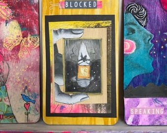 Blocked - Hand Painted Wooden Oracle Card
