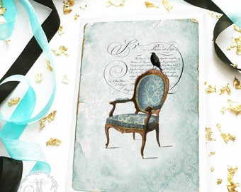 Crow on a chair, Halloween card, vintage chair, Gothic, French, holiday card, blank card
