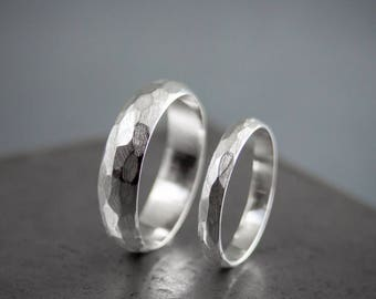 Silver Faceted His and Hers Wedding Rings, Alternative Wedding Band Set