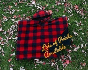 Car Seat Poncho - Car Seat Coat - Car Seat Blanket - Car Seat Cover - Car Seat Fleece Jacket - Kids Gift - Boys Buffalo Plaid Red Black