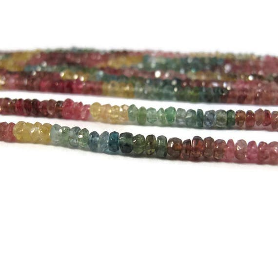 Multi Tourmaline Beads, 14 Inch Strand of Multi Color Faceted Rondelles, 3mm Natural Gemstones for Making Jewelry (R-Tou4)