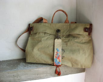 Khaki Army Backpack, Army Recycled Backpack, Recycled Military Backpack, Khaki School Laptop Backpack, Leather Canvas Bag, Satchel Rucksack